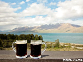 Enjoying the beer and the view at Lake Ohau Lodge New Zealand