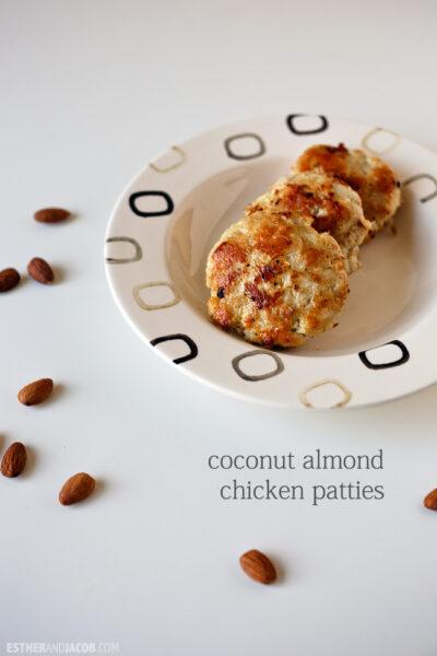 Paleo Recipe. coconut almond chicken patties recipe. paleo sauce recipe. paleo diet recipes. paleo recipes. paleo chicken recipe. paleo dinner recipes.
