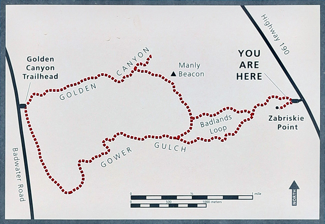 zabriskie point hiking map. hiking map death valley national park. badlands map for hiking