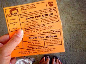 our first time at the conan show. conan o brien show. conan obrien show. where to get conan o brien show tickets. conan talk show. conan tickets. conan show.