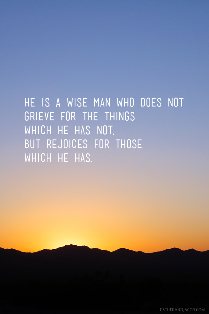 He is a wise man who does not grieve for the things which he has not, but rejoices for those which he has. Epictetus quote.