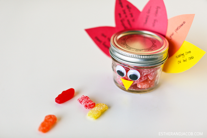 diy mason jar turkey / thanksgiving crafts for kids. mason jars crafts. thanksgiving craft ideas. diy thanksgiving crafts. on gratitude and expressing gratitude.