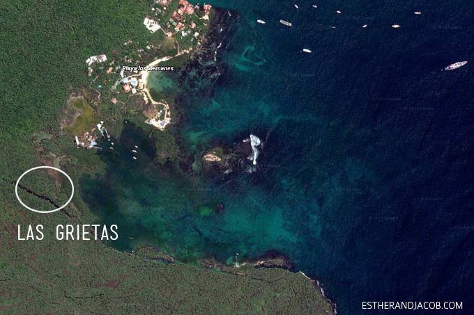 Las Grietas Google earth on google maps.