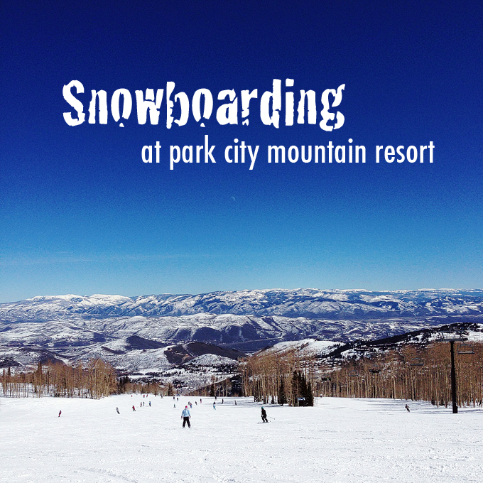 Snowboarding at Park City Mountain Resort Utah.
