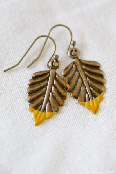 Refugee Beads Giveaway | Dip Dye Metal Jewelry | Vintage Leaf Earring.
