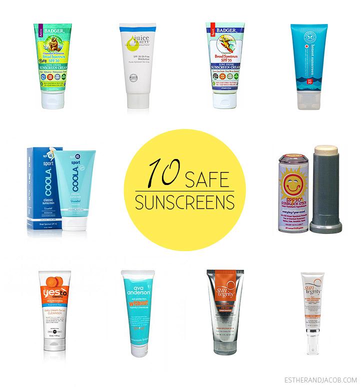 EWG Sunscreen Guide 2014 - 10 Safest Least Toxic Sunscreens and 10 Worst Sunscreens.