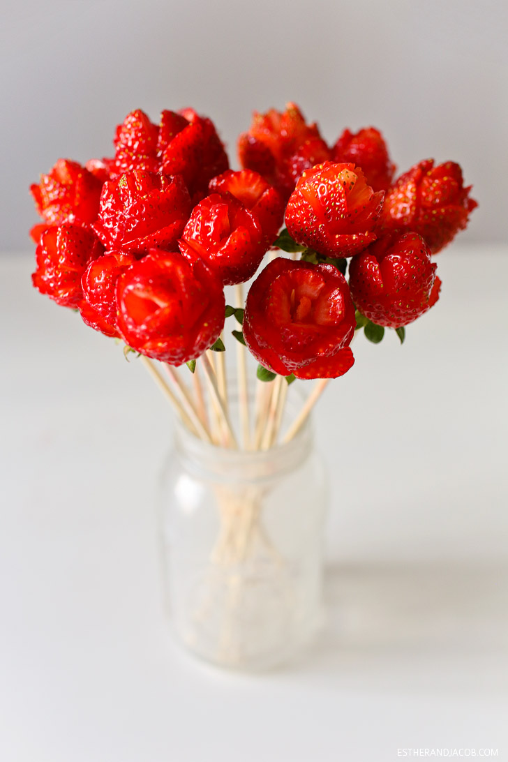 How To Make Strawberry Roses A Fruit Bouquet Diy