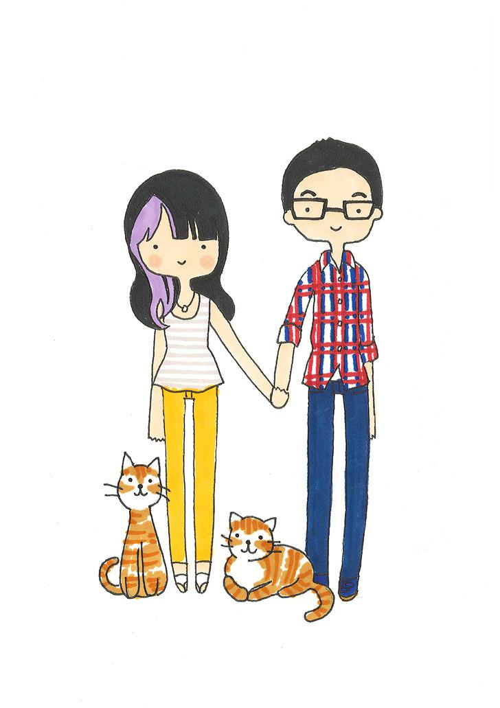 Custom Family Portrait Illustration by Catplusmouse.