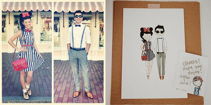 Custom Family Portrait Illustration / Custom Wedding Illustration by Cat plus mouse.