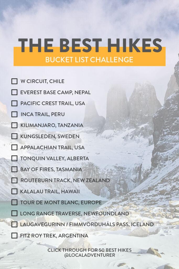 Best Hikes of the World Bucket List Challenge // Local Adventurer #hiking #bucketlist