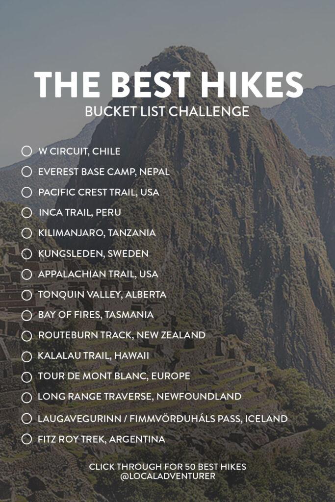 Best Hikes in the World Bucket List Challenge // Local Adventurer #hiking #bucketlist