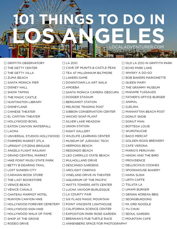 Check out our 101 Things to Do in Los Angeles Bucket List - from the touristy spots everyone has to do at least once to the spots a little more off the beaten path. // localadventurer.com