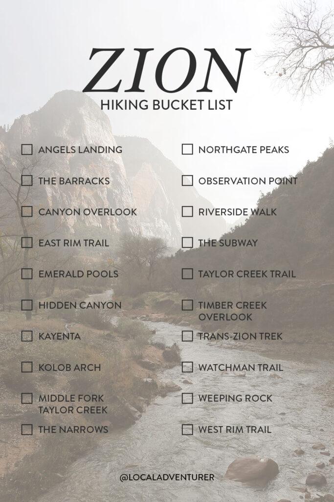 Zion Hiking Trails