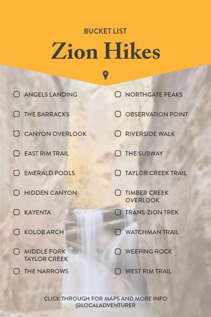 Zion National Park Hiking Trails