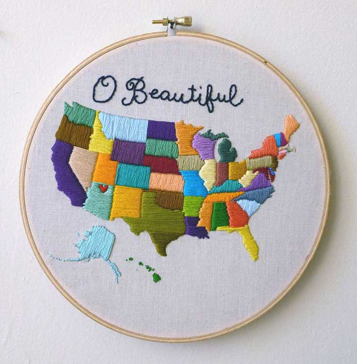 USA Embroidery Map (Also see 15 Creative Ways to Keep Track of Your Travels) // localadventurer.com