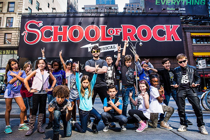 School of Rock the Musical on Broadway: Alex Brightman and the Kids at the Winter Garden Theater NYC.