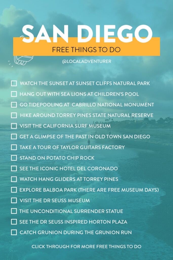 Top Free Things to Do in San Diego Checklist