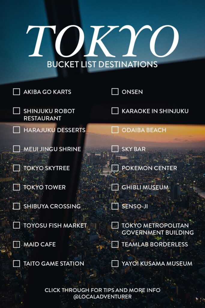 Points of Interest Tokyo Bucket List