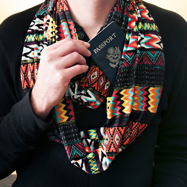 Travel Scarf with Hidden Pocket (25 Best Gifts for Travelers: A Practical Gift Guide).