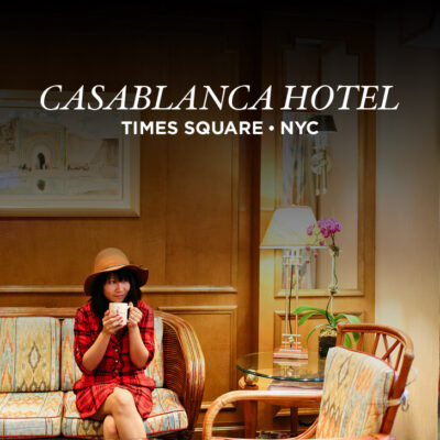 Casablanca Hotel NYC modeled after the movie Casablanca. It's located in the heart of Times Square and makes it convenient to walk to all the iconic parts of the city yet also feels like an escape from all the hustle and bustle.