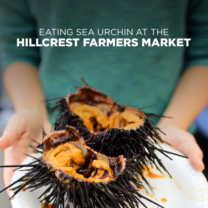 Eating Fresh Sea UrEating the Freshest Sea Urchin at the Hillcrest Farmers Market San Diego.