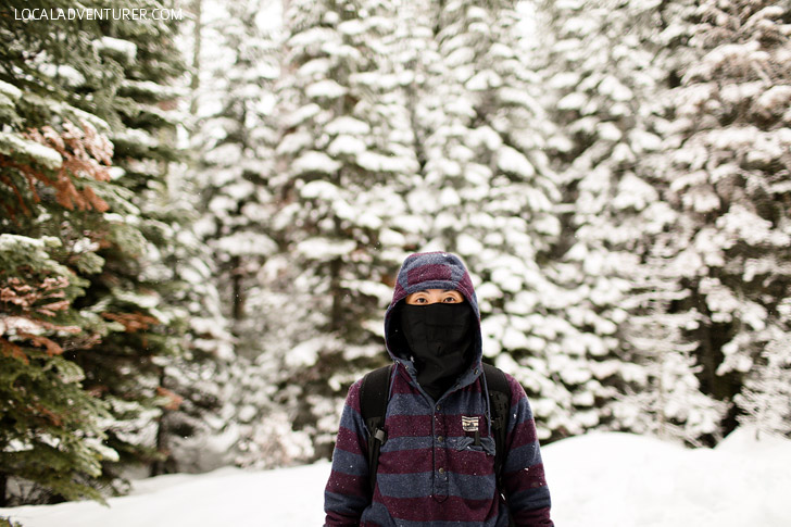 Testing out our balaclava in Yosemite Snow.