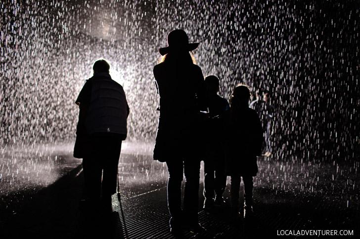 The Rain Room at LACMA Museum - Los Angeles California.