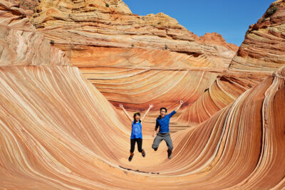 If you want to visit the famous Wave Formation (it's difficult to get into!) Save this pin and click through to see what you need to know to get the Wave permit. It's a unique rock formation in Coyote Buttes North in Vermillion Cliffs National Monument on the border of Arizona and Utah // Local Adventurer #localadventurer #thewave #hiking #arizona