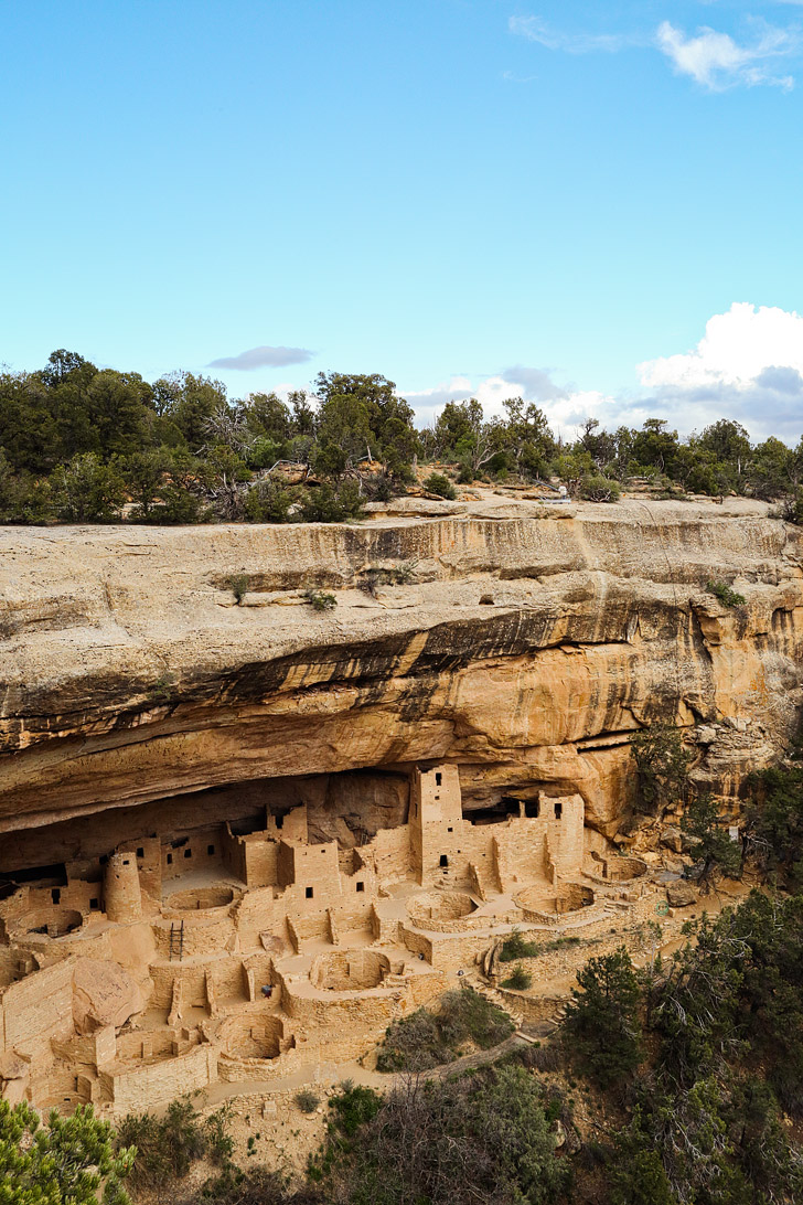 The Cliff Palace is the largest cliff dwelling in North America and was built by Ancestral Puebloans. It's located in Mesa Verde National Park Colorado