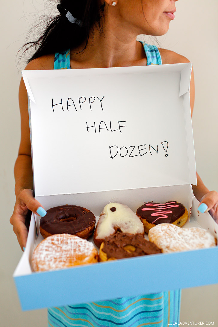 Happy Half Dozen Donuts! (6 Unique 6th Year Anniversary Gift Ideas for Sweets, Iron, and Wood) // localadventurer.com