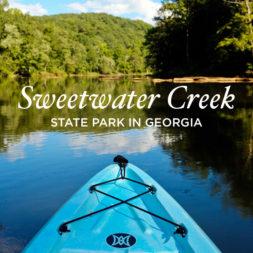 Kayaking Through the Set of Mockingjay at Sweetwater Creek State Park Georgia