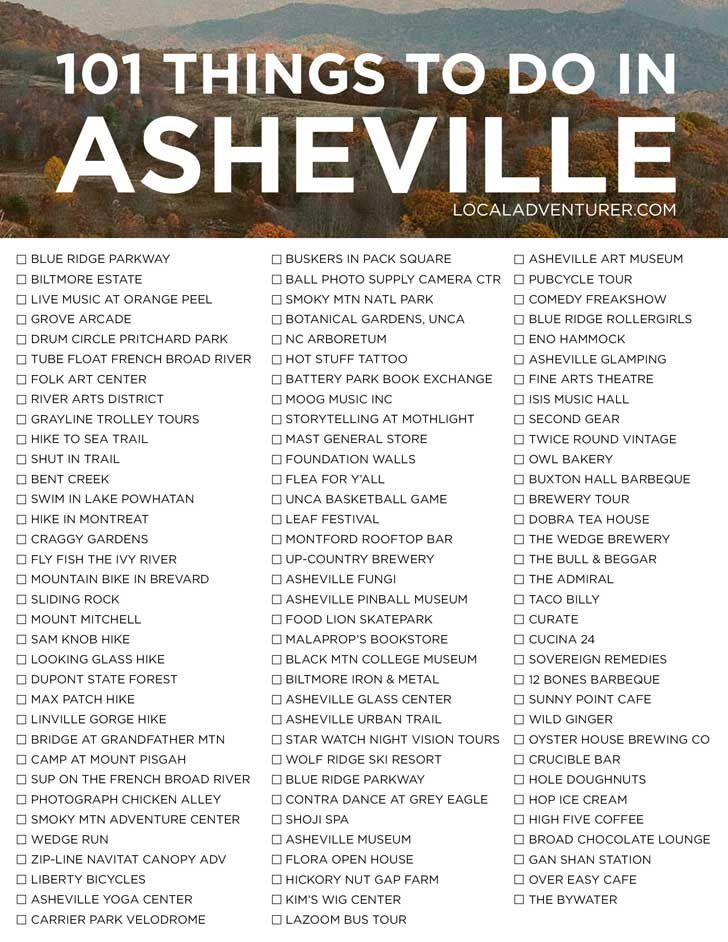 101 Things to Do in Ashevile NC - an Ultimate Asheville Bucket List - from the touristy spots everyone has to do at least once to the spots a little more off the beaten path. // localadventurer.com