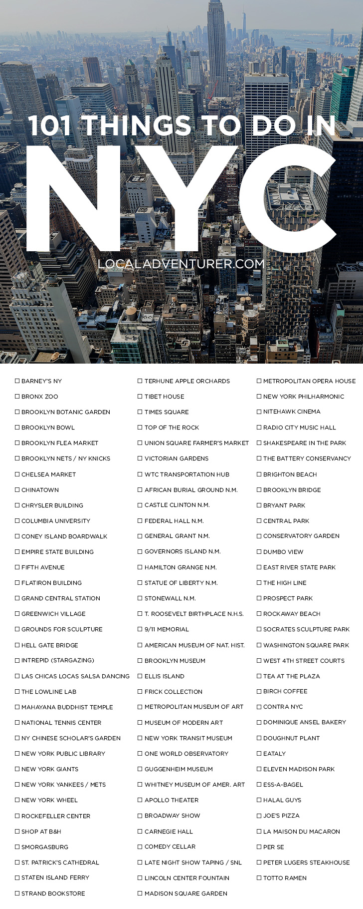 Ultimate new york city bucket list 101 things to do in nyc for Stuff to see in nyc