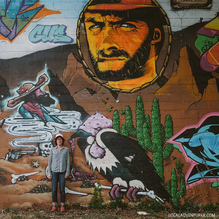 Wild West Asheville Mural for 2014 Burners and Barbeque on the side of El Paraiso - 25 Best Instagram Spots in Asheville NC // localadventurer.com
