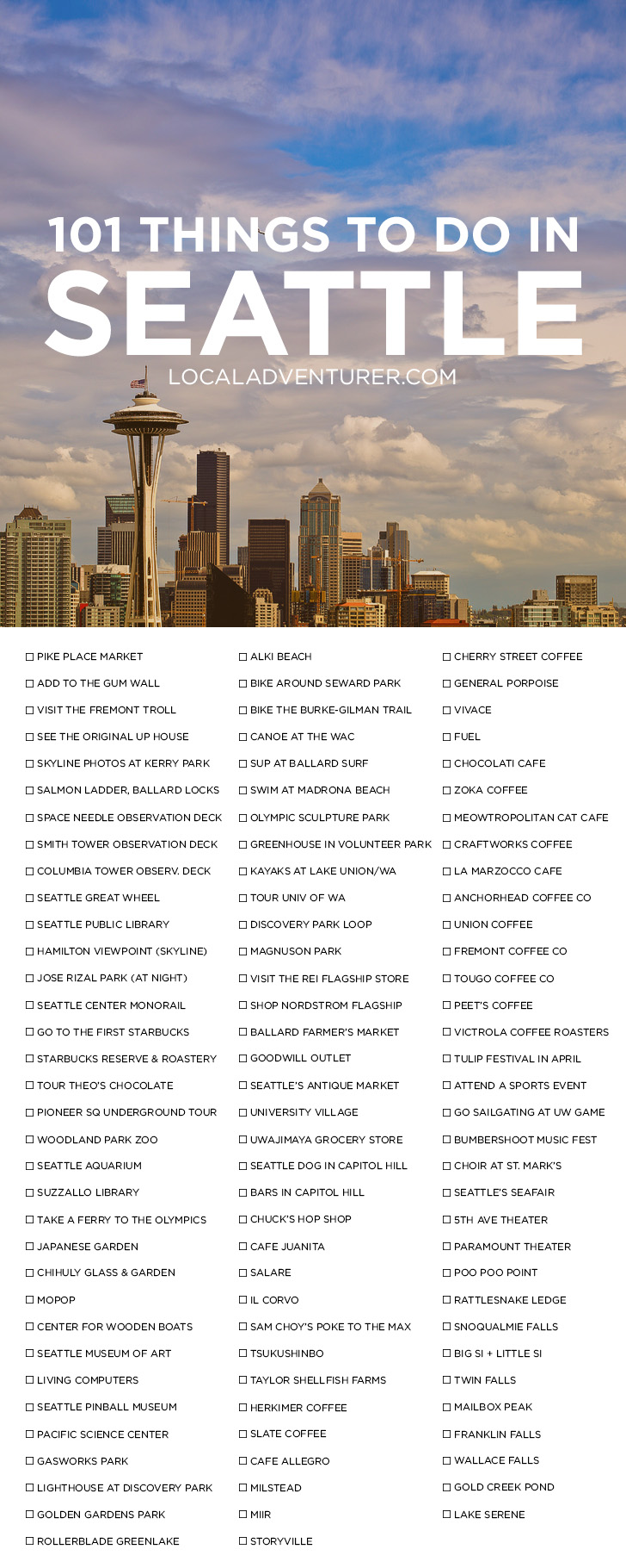 101 Things to Do in Seattle Washington { click through to get the printable version } - the Ultimate Seattle Bucket List - from the popular spots everyone has to do at least once to the spots a little more off the beaten path. // localadventurer.com