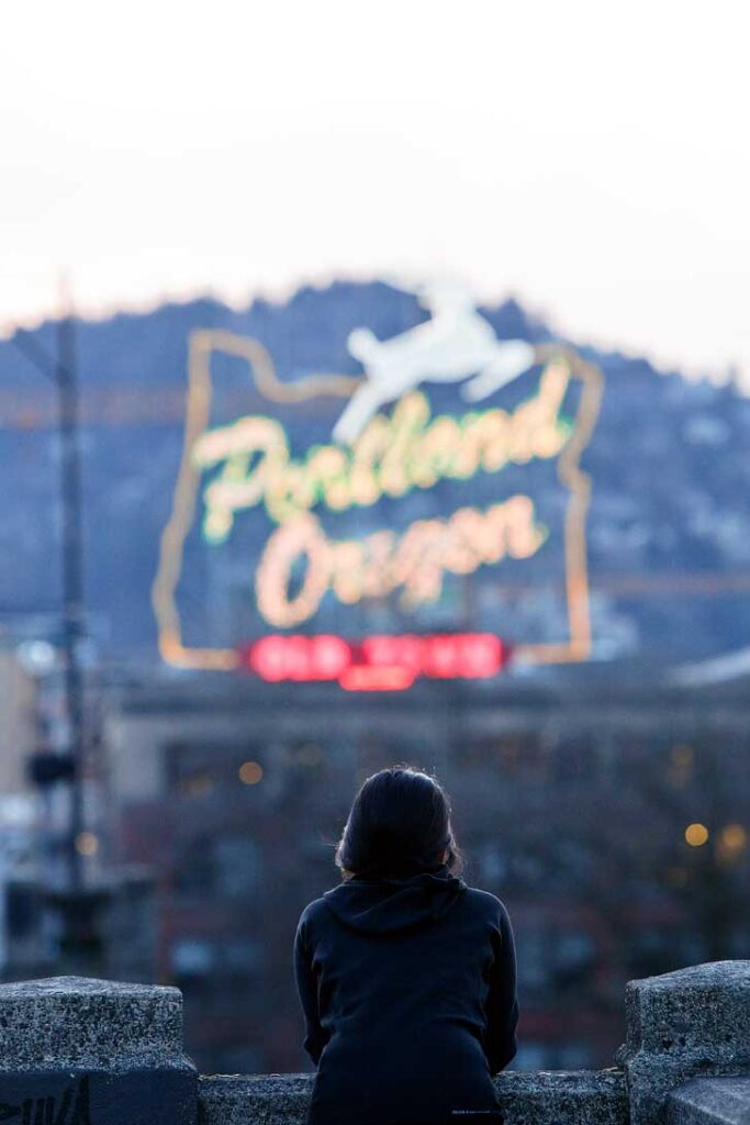 Historic Portland White Stag Sign + 25 Best Places to Take Pictures in Portland Oregon
