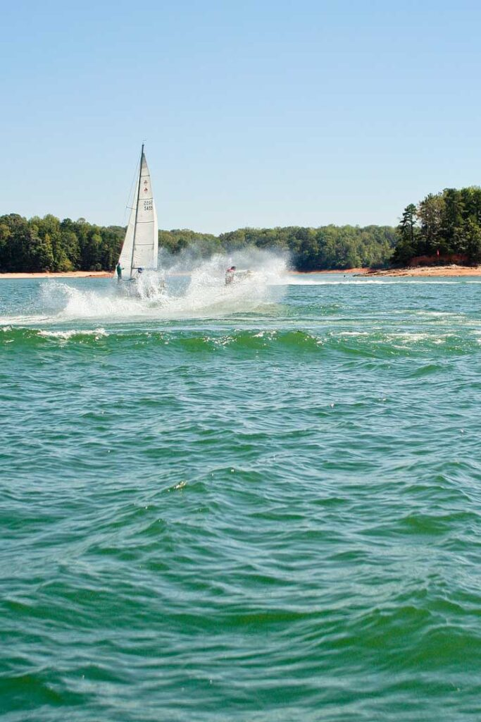 Lake Lanier is a popular spot for Atlantans to swim, boat, fish, or enjoy other water sports. You can find hiking trails and even zip line through the trees too. // localadventurer.com