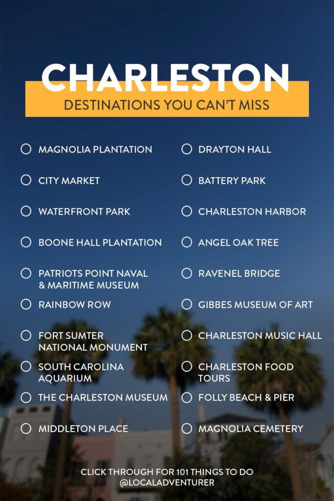 Charleston Bucket List Destinations