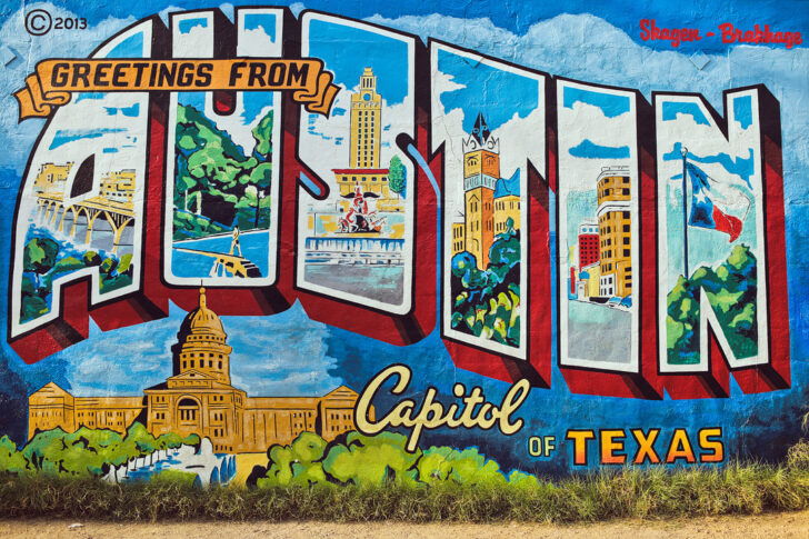 Greetings from Austin Mural + The Top Free Things to Do in Austin TX // Local Adventurer #texastodo #trueaustin #atx #austin #tx #texas #visittheusa