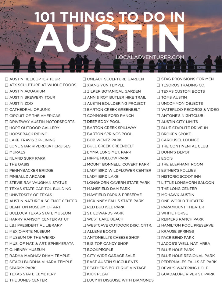 Need fun ideas for Austin? Read our 101 Things to Do in Austin Bucket List with Tips for First Timers // Local Adventurer #atx #austin #texas