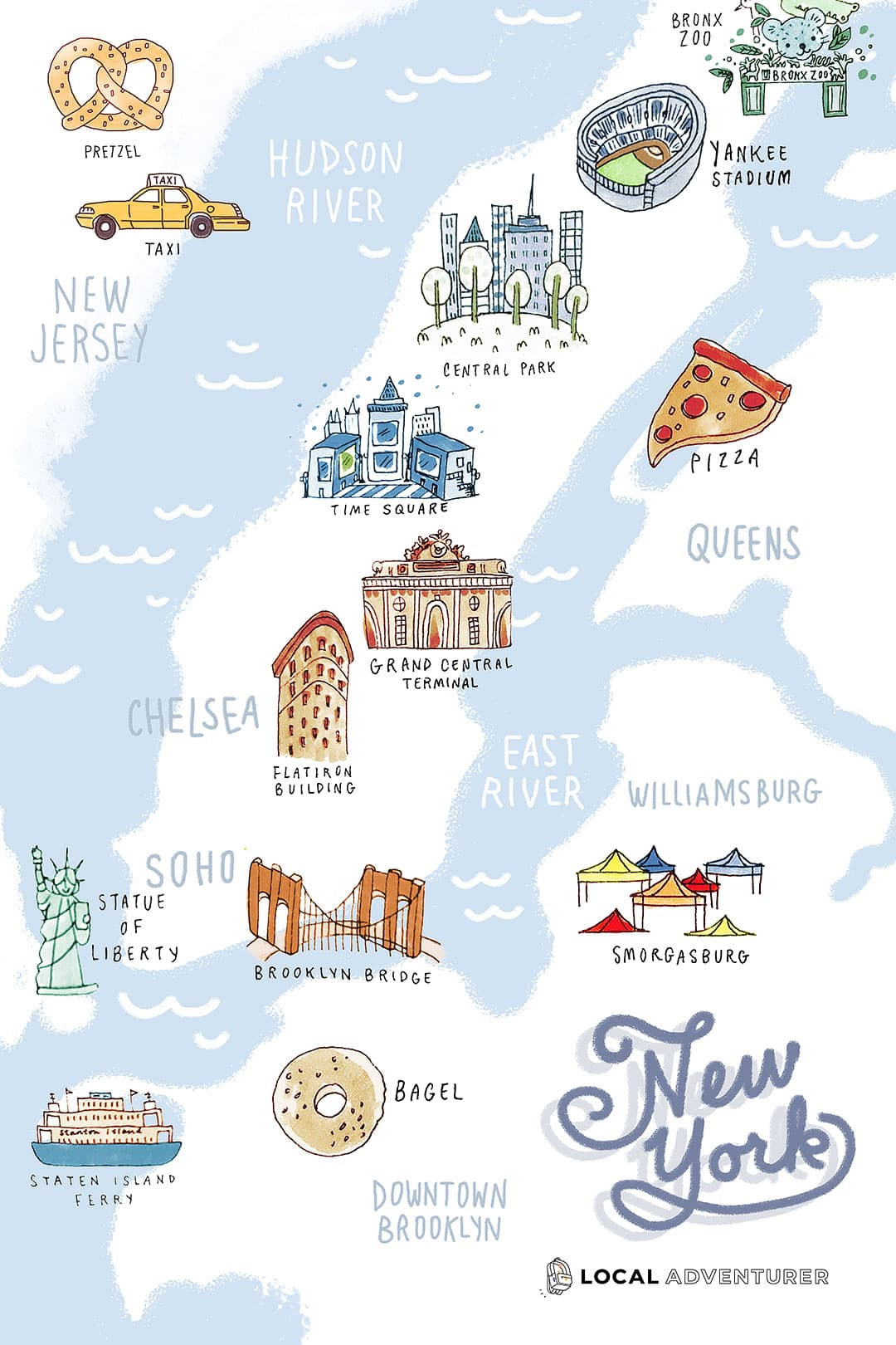 illustrated map of nyc