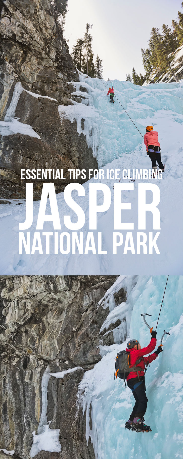 Do you want to give ice climbing a shot? If I can do it, you can do it. Click this pin to see our Ice Climbing Tips for Beginners, Ice Climbing 101, Intro to Ice Climbing, Ice Climbing Jasper National Park. Jasper Winter Activities // Local Adventurer #jasper #alberta #iceclimbing