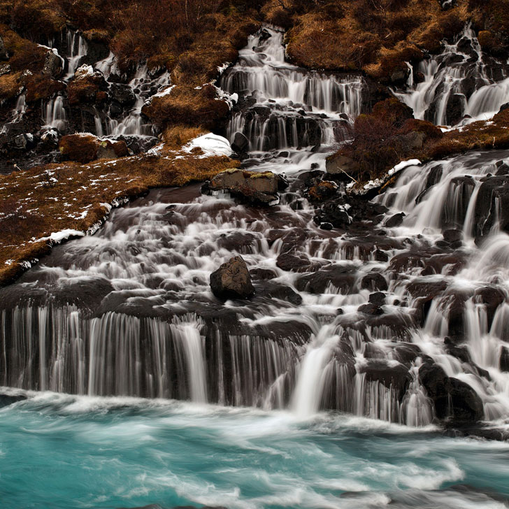 Bjarnafoss or Barnafoss Waterfall, Western Iceland - Iceland Road Trip Travel Tips - Planning a trip to Iceland? Take a look at this article to find out which 5 day trips from Reykjavik Iceland you can't miss. There are so many beautiful places that you need to experience // Local Adventurer #iceland #roadtrip #europe
