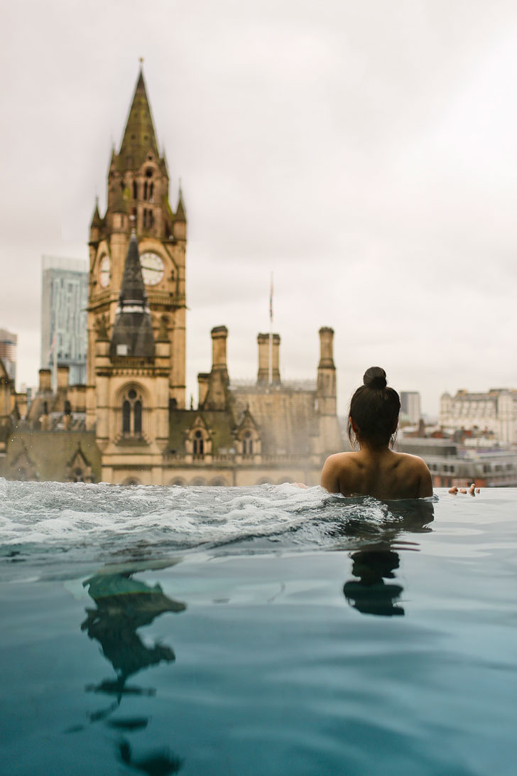 King Street Townhouse Hotel Pool has Amazing Views! + Check out our article for 15 Incredible Ideas to Add to Your Manchester England Travel Bucket Lists // Local Adventurer #manchester #unitedkingdom #europe