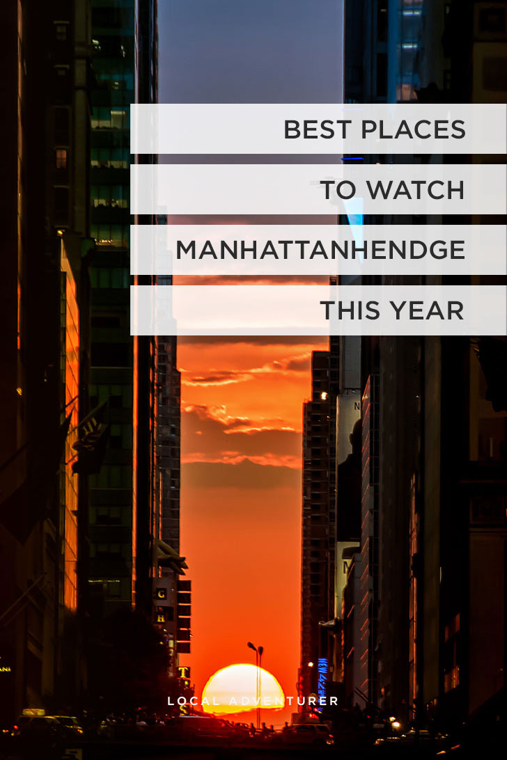 Manhattanhendge or Stonehendge in NYC is a phenomenon where the sun perfectly aligns with the east west streets in Manhattan. Read this post to learn about where to see Manhattanhendge and more // Local Adventurer
