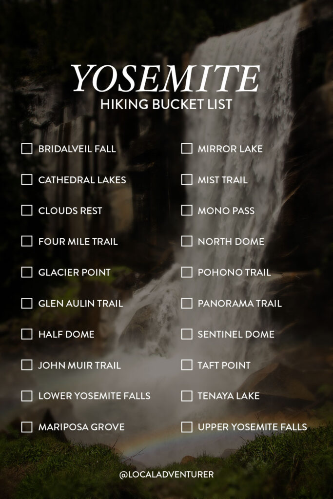 Yosemite National Park Hiking Trails Bucket List