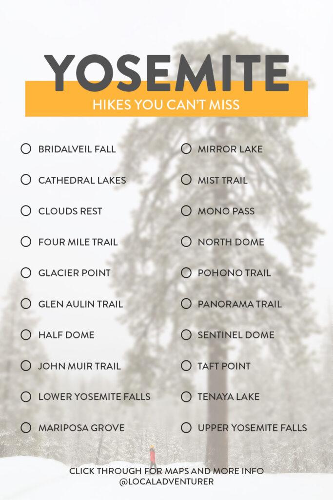 Yosemite Winter Hikes and Summer Hikes