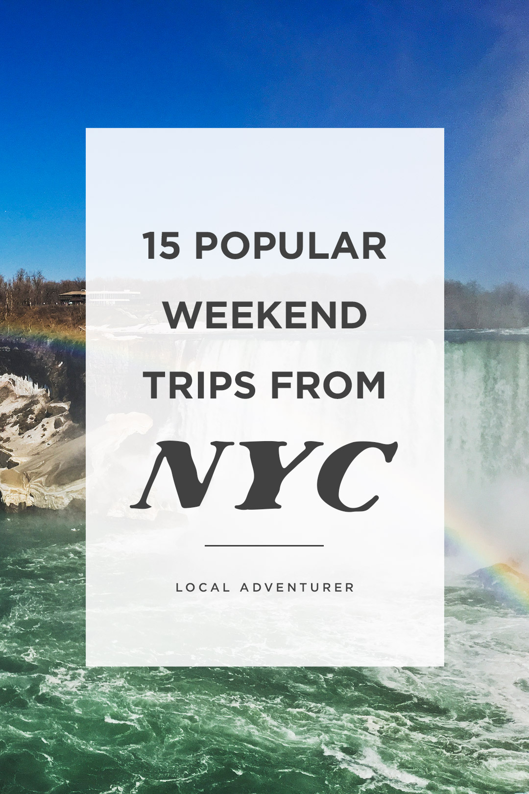 Need a break from the city? Save this pin and click through to see the best weekend getaways from nyc to the most amazing spots in the northeast. Whether you're planning romantic weekend getaways near nyc, road tripping with a bunch of friends, or just looking for some last minute getaways from nyc, everyone needs to escape the big apple from time to time (Pictured is Niagara Falls on the US side). // Local Adventurer #nyc #roadtrip #visittheusa