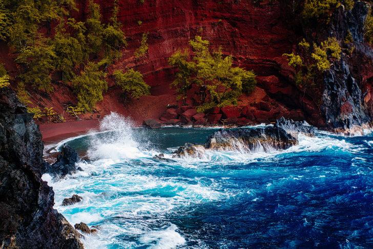 Kaihalulu Red Sand Beach Maui Hawaii + 19 Best Stops on Road to Hana