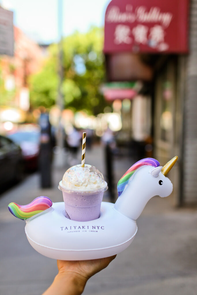 Taro Shakes in Unicorn Floats at Taiyaki NYC // Local Adventurer #nyc #newyork #newyorkcity #usa #food #foodie #travel #wanderlust #desserts #unicorn